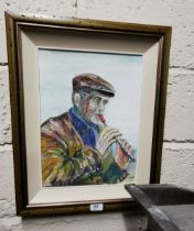 """Oil on Board """"Tin Whistler"""" signed by the artist Sean McDermott dated 2001, 39cmH x 29cmW, mounted"""