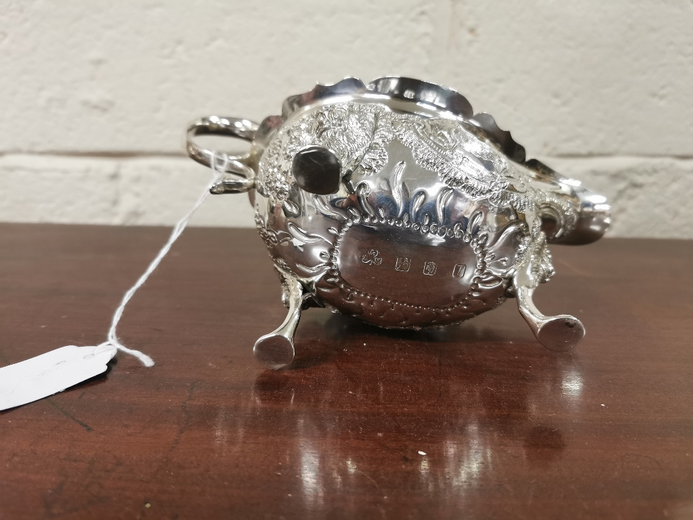 Irish Silver Sauce Boat, 22cmW x 11cmH, by Alwright & Marshal, dated 1976, (253 grams), ornately - Image 3 of 4