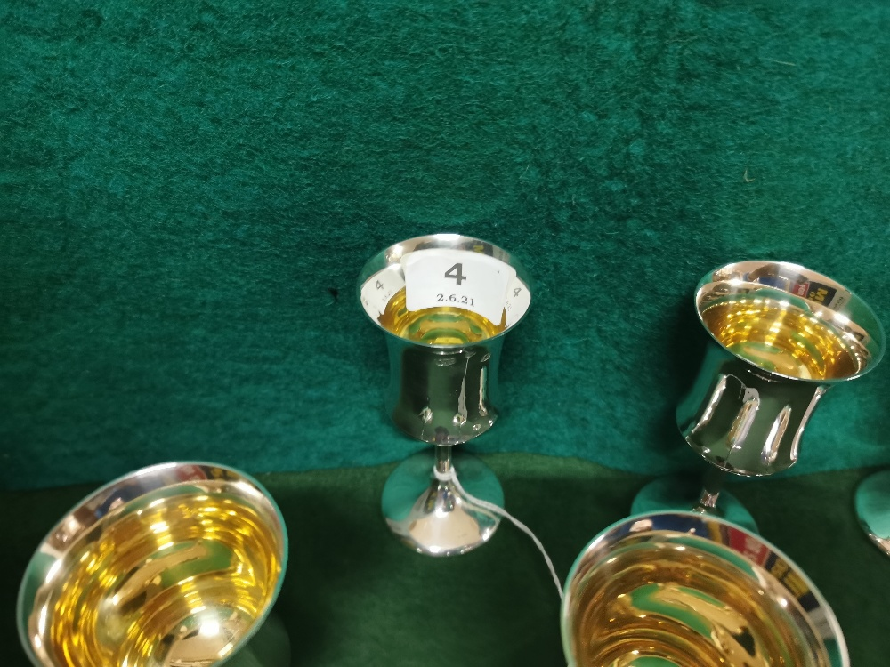 A matching set of 6 London Silver Wine Goblets, each 11.5cmH, 5cm dia, by A T Cannon Ltd, 1973 ( - Image 2 of 4