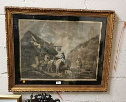 Pair of 19thC Moreland Lithographs – Farmyard Scenes (The Warrener & The Thatcher) engraved by W.