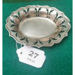 Small Irish Silver Oval Shaped Pin Dish, with pierced border, stamped JMC, with commemorative stamp