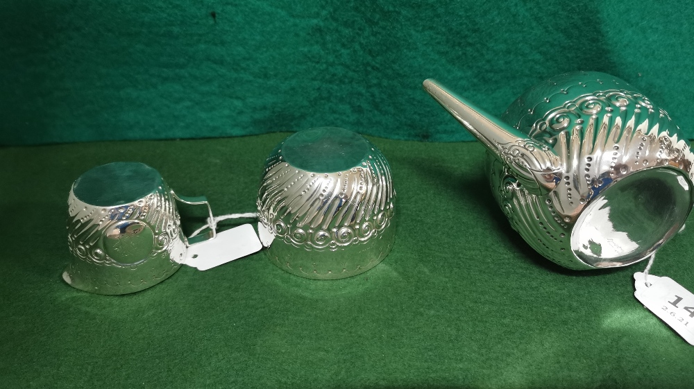 Three Piece London Silver Victorian Tea Service of small proportions, comprising of a Teapot, - Image 3 of 4