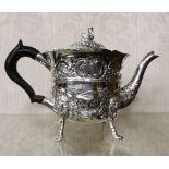 Irish Silver Teapot, by Charles Lamb, 1901, 505 gram weight (incl. Ebony handle), a swan mounted lid