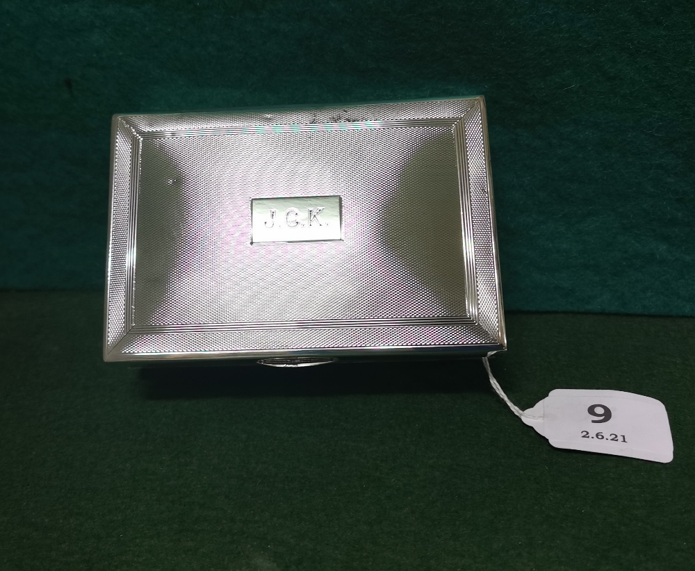 Birmingham Silver Cased Cigarette Case, initialled J.C.K, inscribed Christmas 1955, by Charles S - Image 2 of 3