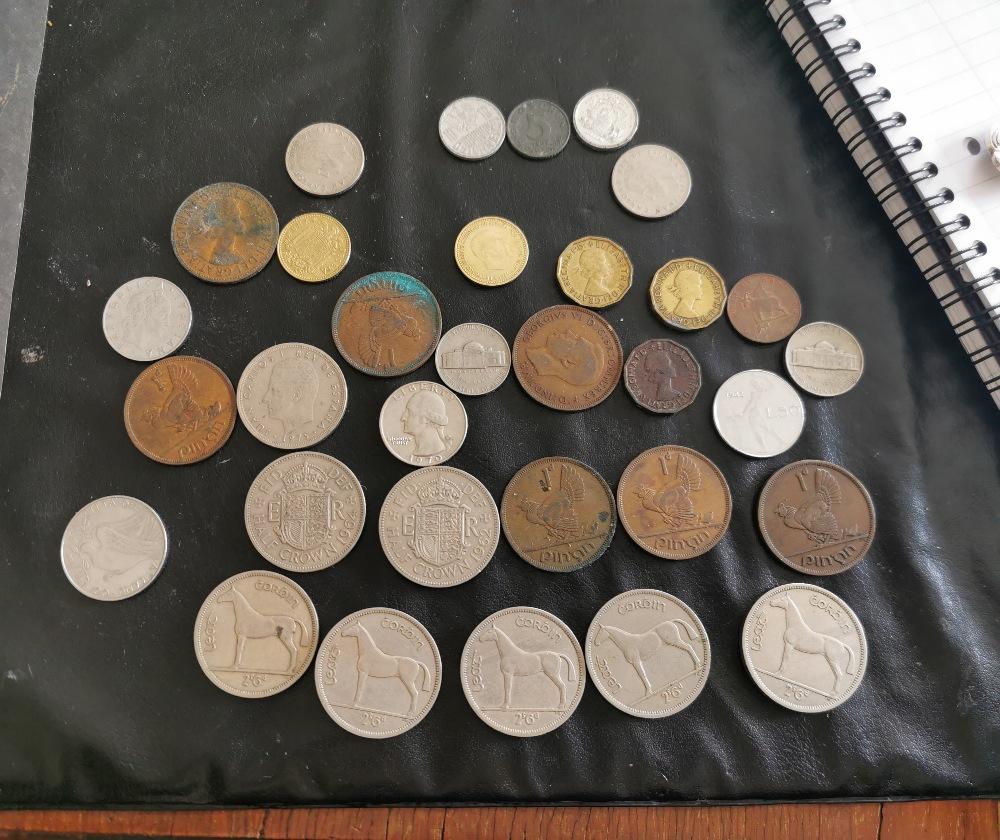 Group of old 1960's Irish & English coins – 5 Irish Half Crowns, 4 old Irish Pennies, 2 old