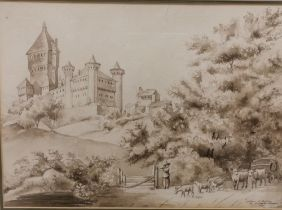"""Sepia Watercolour, French, dated 1871, """"Chateau de Vafleres"""", with farm animals in the foreground,"""
