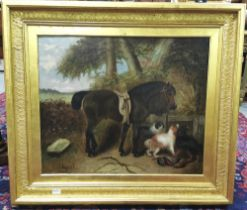 G ARMFIELD, 1810-1893, Oil Painting, saddled brown horse in countryside with hunting dogs and