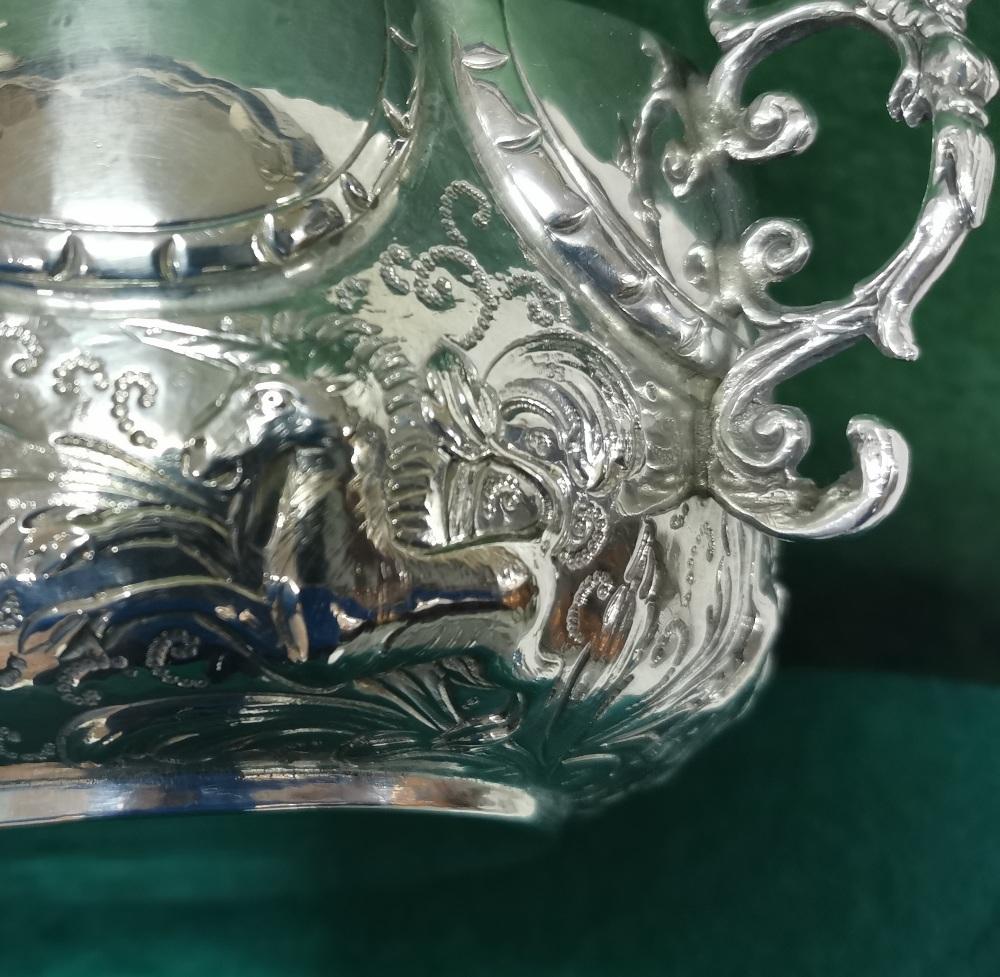 Ornate Silver Fruit Basket, 2 handled, 8 part scalloped rim, 18cm dia, 7cm H, 14 3/4 ozs (420 - Image 6 of 8