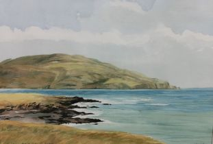 "PETER KNUTTEL, ""Horn Head, Port Na Glagh, Co. Donegal, 39cm x 56cm, white mount, gold frame ("