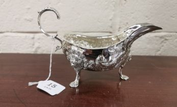 Irish Silver Sauce Boat, 22cmW x 11cmH, by Alwright & Marshal, dated 1976, (253 grams), ornately