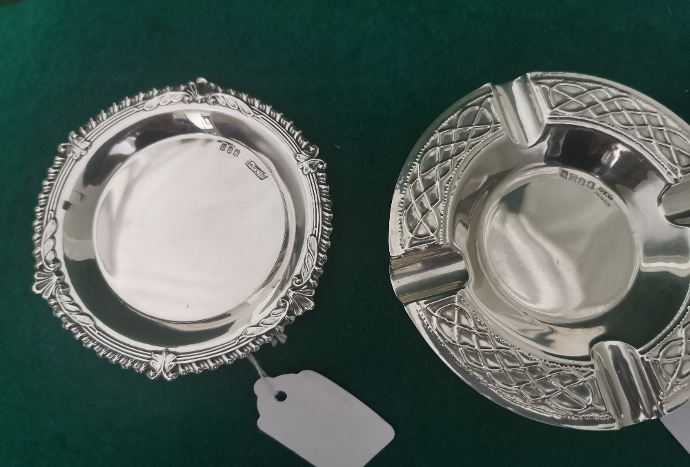Irish Silver Pin Dish with ribbed borders, stamped J.M. & Co, 1907 9cm dia & a commemorative Irish - Image 2 of 3