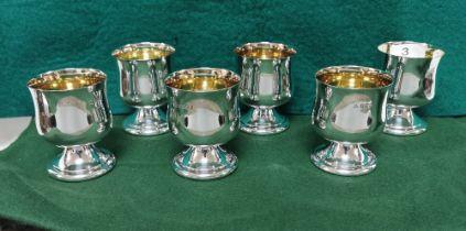 Matching Set of 6 Irish Silver Wine Goblets, each 8cmH x 7cm dia, by Alwright & Marshall (750