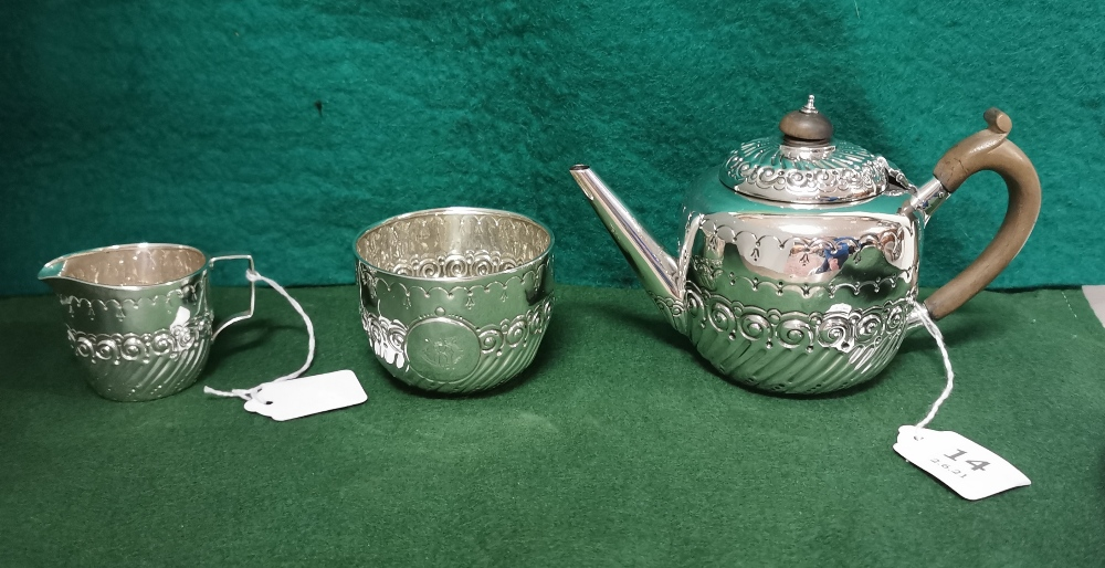 Three Piece London Silver Victorian Tea Service of small proportions, comprising of a Teapot,