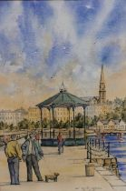 """JIM SCULLY """"East Pier Dun Laoghaire"""", original Watercolour/Indian Ink, pedestrians with gazebo in"""