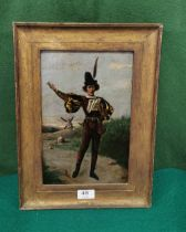 """19thc Dutch Oil Painting on Tin """"The Orator"""", 29 x 19cm, in a gold frame"""