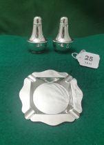 A Pair of Birmingham Solid Silver Pepper Pots, stamped JC Ltd, Patent 325841, 1937 & a Birmingham