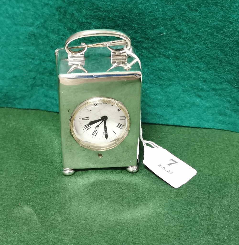 London Silver Cased Carriage Clock, dated 1942, stamped Webster, 60 Piccadilly W8.5cmH x 5.8cmW,