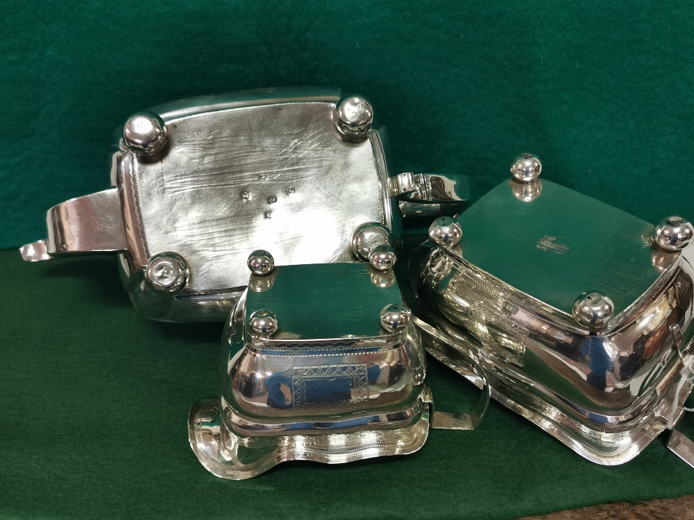 Three Piece Irish Georgian Silver Tea Service, of large proportions, dated 1838, comprising of a - Image 3 of 3
