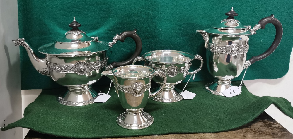Four Piece Irish Silver Tea Service comprising of a Tea Pot and Hot Water Pot on stem bases, with