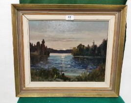 """Dutch Oil on Board """"Sunrise by the Lake"""", signed T. Ahlm (T Rudolph Ahlm), 23 x 40cm, in a gold"""