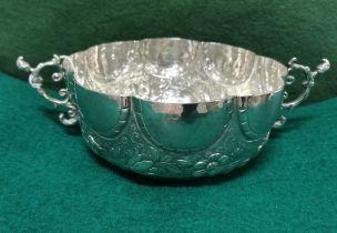 Ornate Silver Fruit Basket, 2 handled, 8 part scalloped rim, 18cm dia, 7cm H, 14 3/4 ozs (420