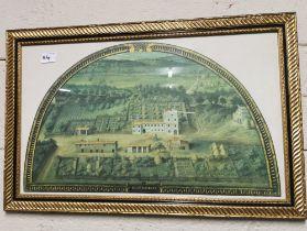 """Pair of Italian Prints """"La Magta""""- aerial views of grand houses (in semi-circular), mounted, in"""
