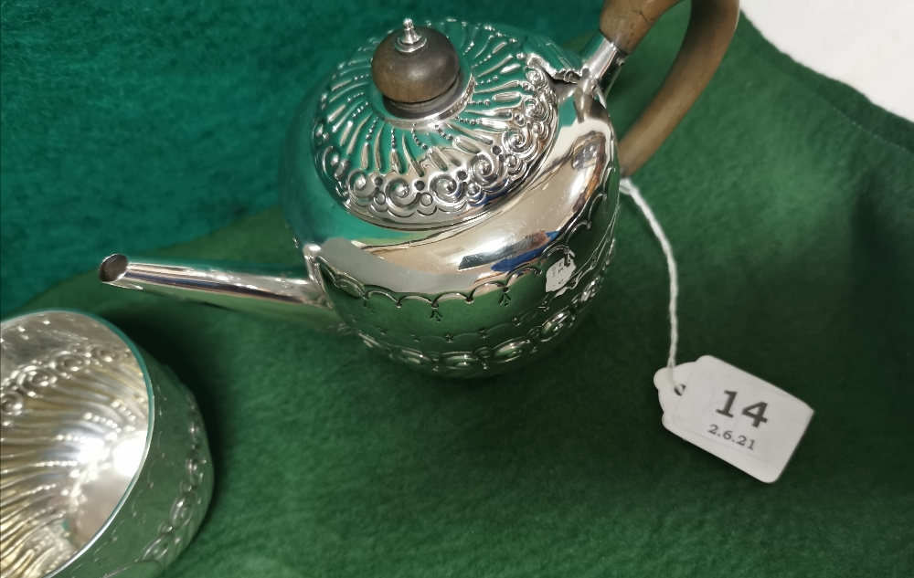Three Piece London Silver Victorian Tea Service of small proportions, comprising of a Teapot, - Image 2 of 4
