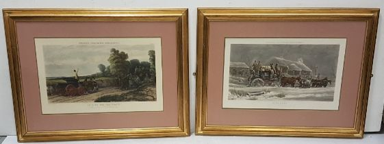 """Set of 5 colour etchings """"Fore's Coaching Incidents"""", etched by JJ Harris, painted by C C"""