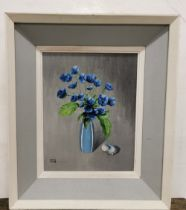 """TERENCE ATTRIDGE WILLIAMS RHA, """"Blue Wind Flowers"""", oil on board, 28cm x 22cm, in a stepped white"""