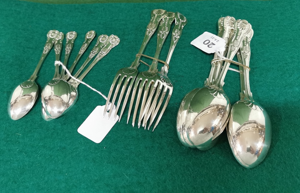 Set of 6 Kings Pattern Sheffield Solid Silver Dessert Spoons and a Matching Set of 4 Dessert Forks - Image 2 of 3