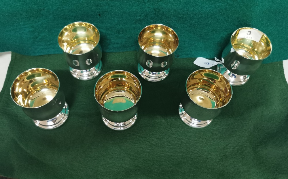 Matching Set of 6 Irish Silver Wine Goblets, each 8cmH x 7cm dia, by Alwright & Marshall (750 - Image 2 of 3