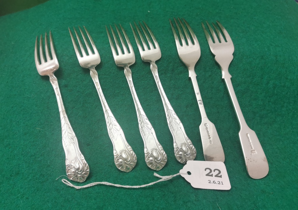 6 Dessert Forks including a set of 4 ornate Cereta Silver Plated by Oneida Silverware 1902 (18cmL) & - Image 2 of 2