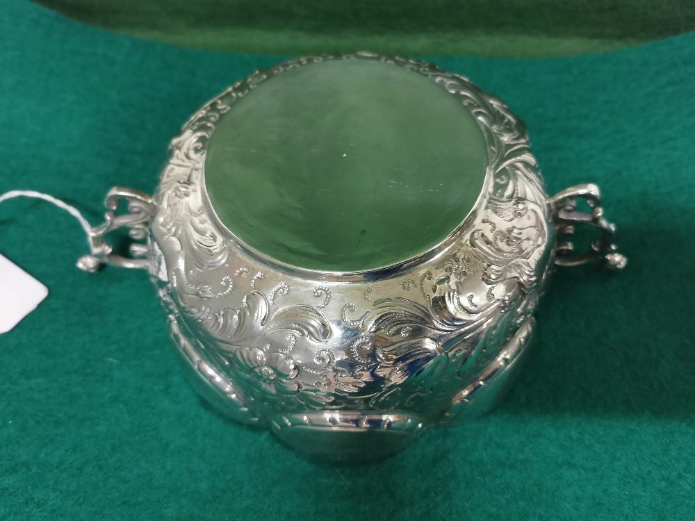 Ornate Silver Fruit Basket, 2 handled, 8 part scalloped rim, 18cm dia, 7cm H, 14 3/4 ozs (420 - Image 4 of 8