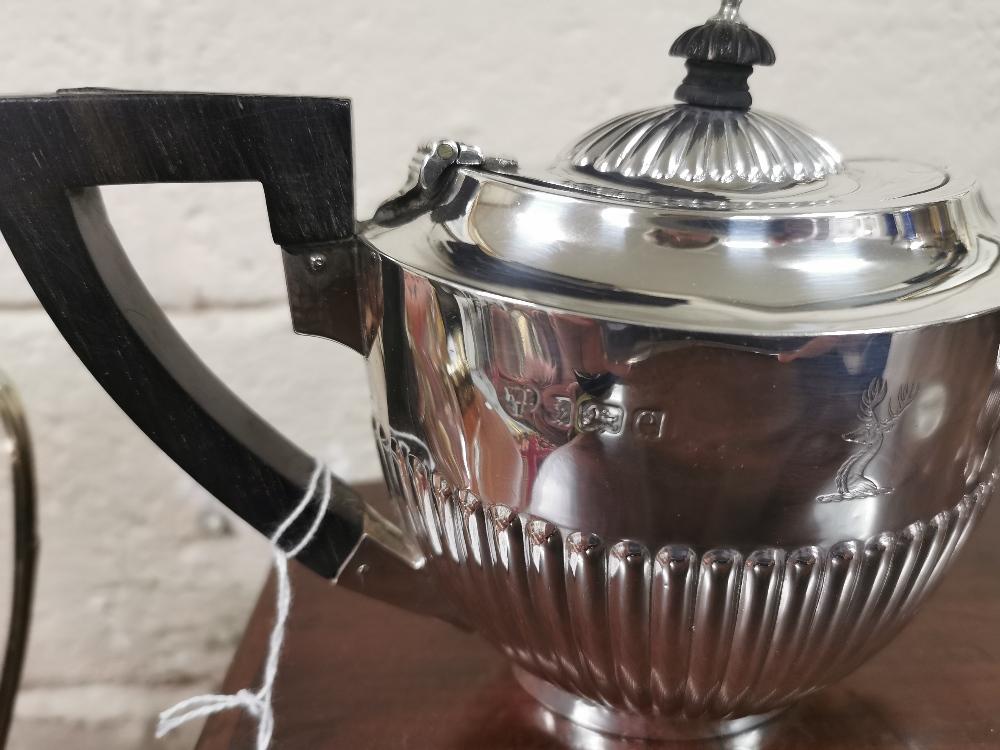 Three Piece Birmingham Silver Tea Set, hallmarked 1904, consisting of a Teapot (13cmW x 23cmH), a - Image 2 of 2