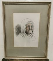 CHARLES E KELLY (1902-1981), Watercolour Study of the head of an old Lady wearing a white shawl,