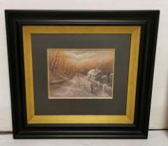 "PHILIP GRAY (b.1959, Cork), original Oil on Canvas, ""Guiding Us Home"", sheep herding along a farm"