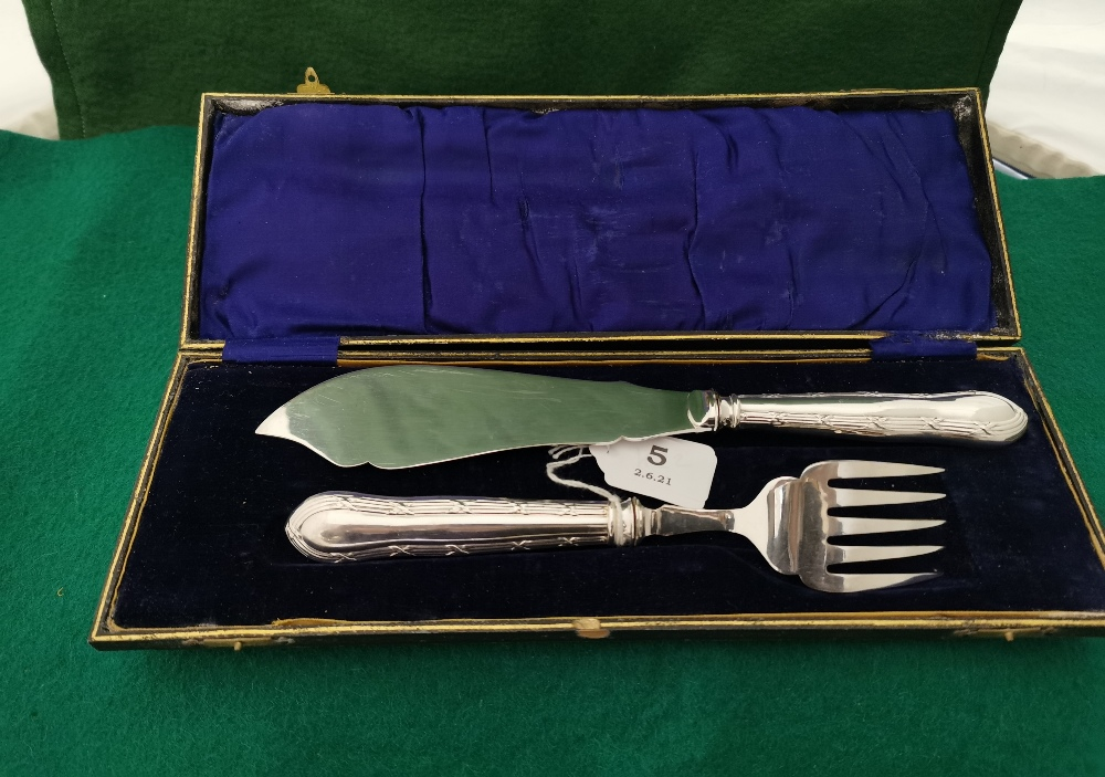 Antique Fish Knife and Fork Serving Set, ornate engraving (possibly silver handle, unmarked) (2), in - Image 2 of 2