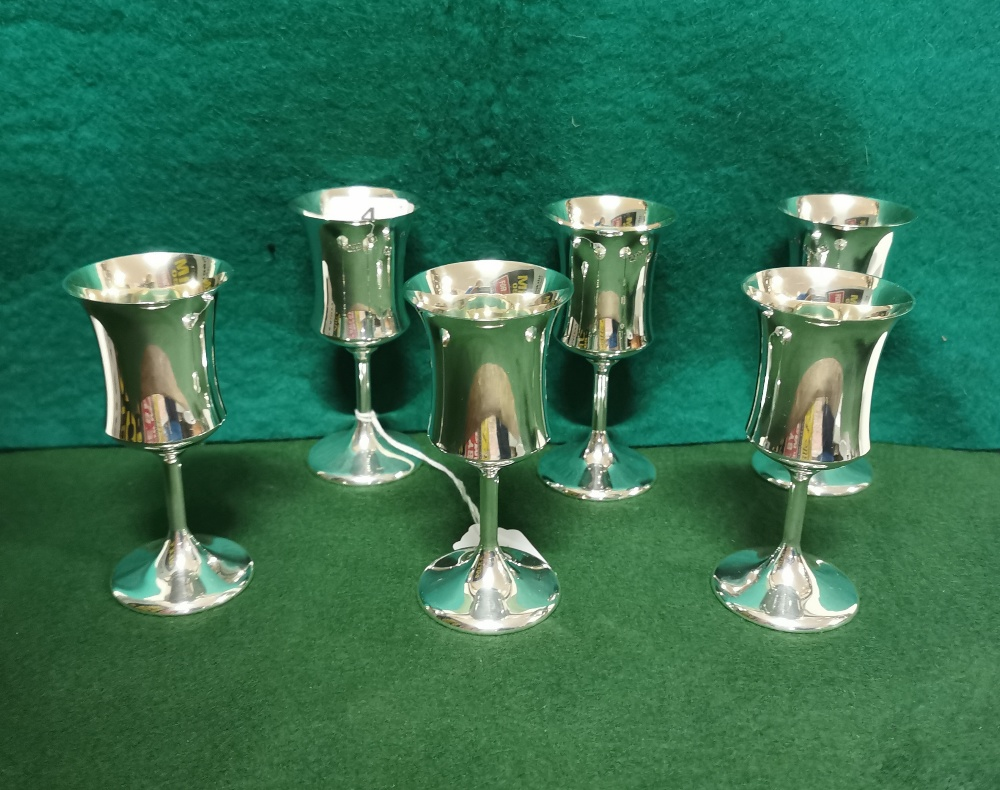 A matching set of 6 London Silver Wine Goblets, each 11.5cmH, 5cm dia, by A T Cannon Ltd, 1973 (