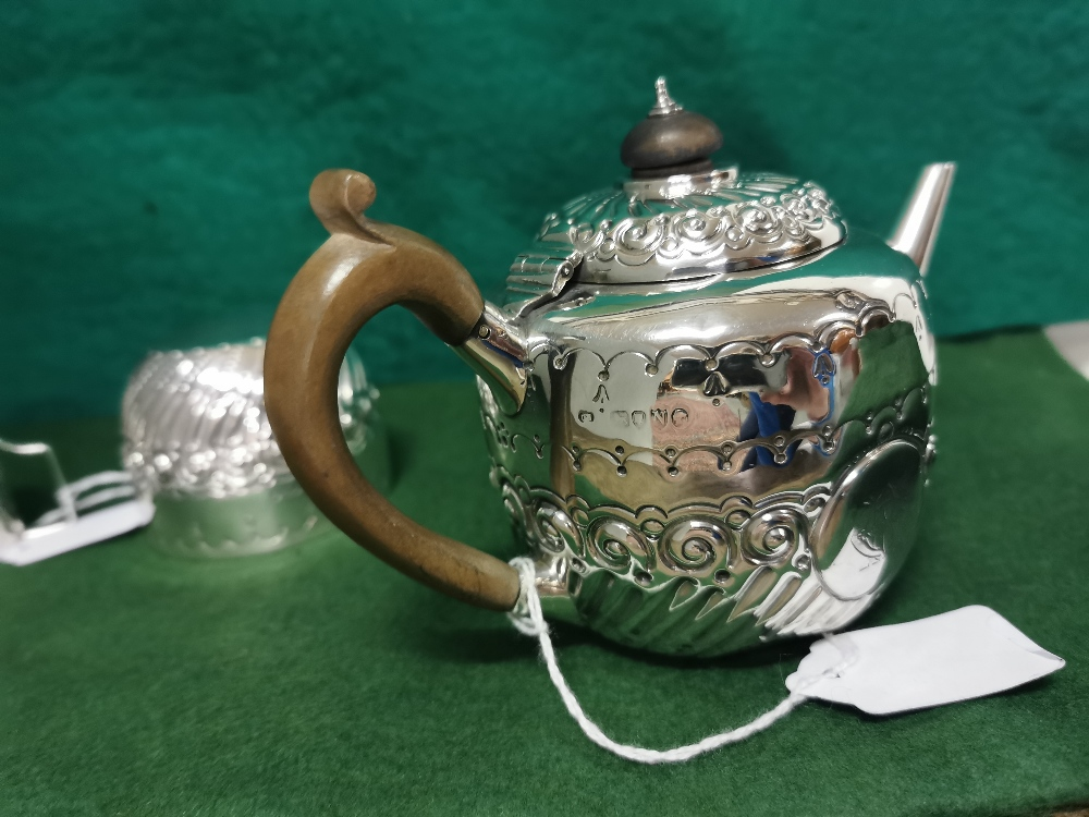 Three Piece London Silver Victorian Tea Service of small proportions, comprising of a Teapot, - Image 4 of 4