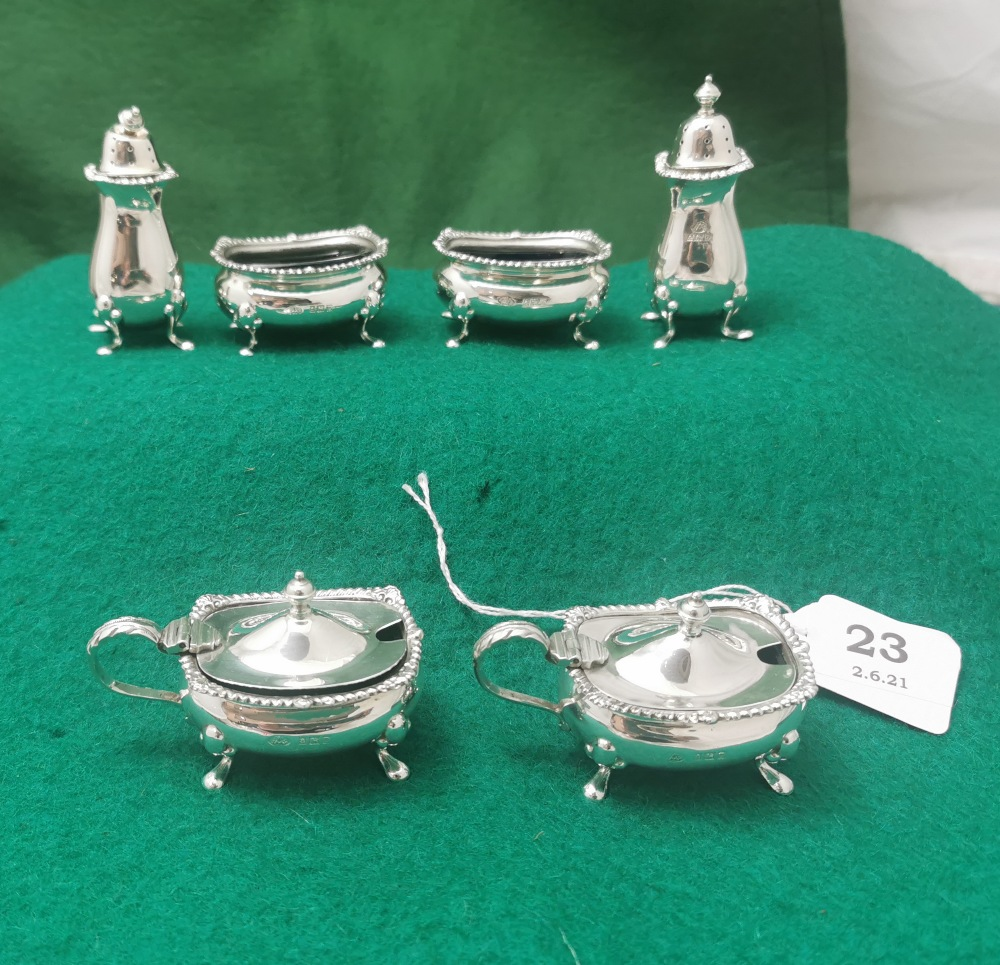 A Matching Set of 6 Birmingham Solid Silver Cruets - including a pair of mustard pots, a pair of