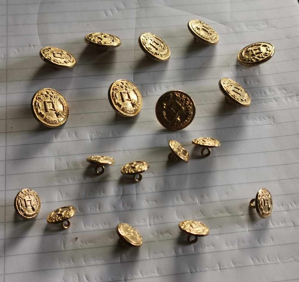 """Masonic Brass Coat Buttons – 9 large and 9 small, stamped """"Victoria Lodge"""", made by """"Firmin,"""