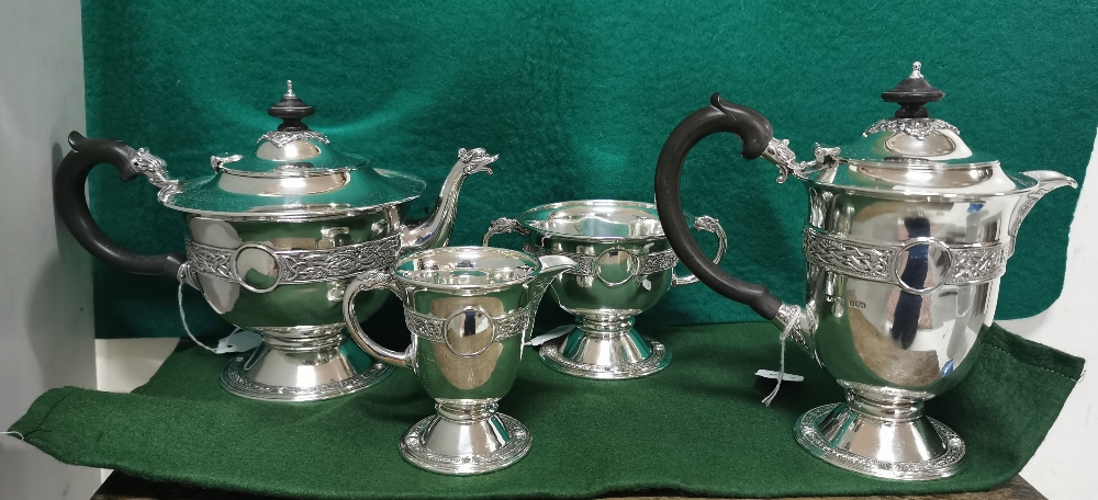 Four Piece Irish Silver Tea Service comprising of a Tea Pot and Hot Water Pot on stem bases, with - Image 2 of 3
