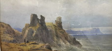 """JOHN FAULKNER (1835-1894) """"Wicklow Castle"""", Watercolour, with figures sitting at the cliff edge,"""