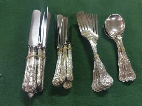 An Elkington & Co Solid Silver Six Place Cutlery Set, Kings Pattern, comprising 6 Table Knives (24cm