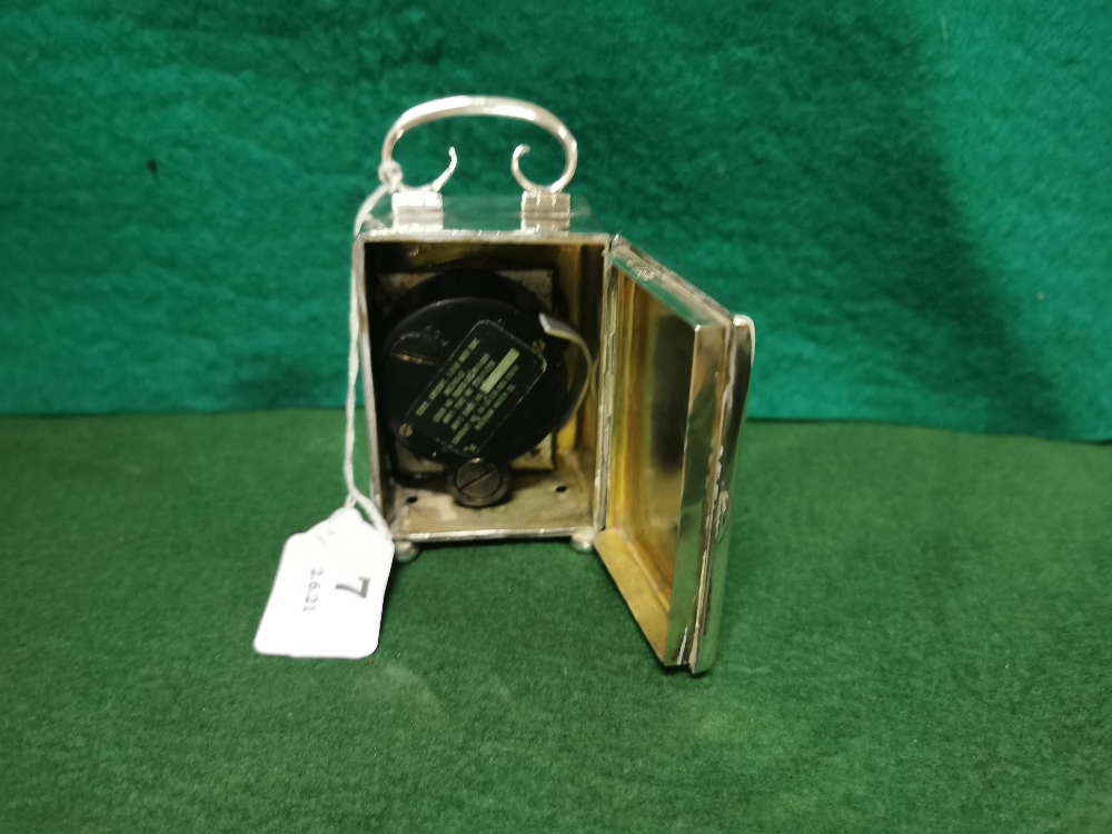 London Silver Cased Carriage Clock, dated 1942, stamped Webster, 60 Piccadilly W8.5cmH x 5.8cmW, - Image 2 of 2