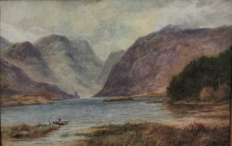 """ALEXANDER WILLIAMS RHA (1846-1930), """"Glenveigh Lake"""", Co. Donegal, Watercolour (signed by artist,"""