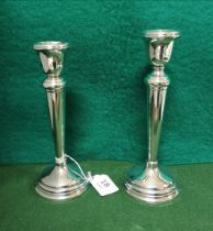 Matching Pair of Birmingham Silver Candlesticks, stamped 1951 (one top damaged), each 20cm high