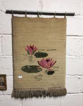 """Connemara Carpet"" Wool Wall Hanging, ""Pond Lillies"", cream ground, 84cmH x 60cmW"