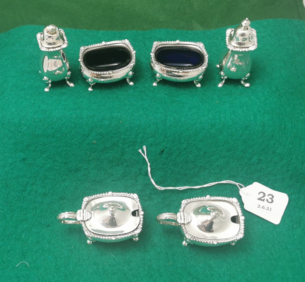 A Matching Set of 6 Birmingham Solid Silver Cruets - including a pair of mustard pots, a pair of - Image 2 of 2