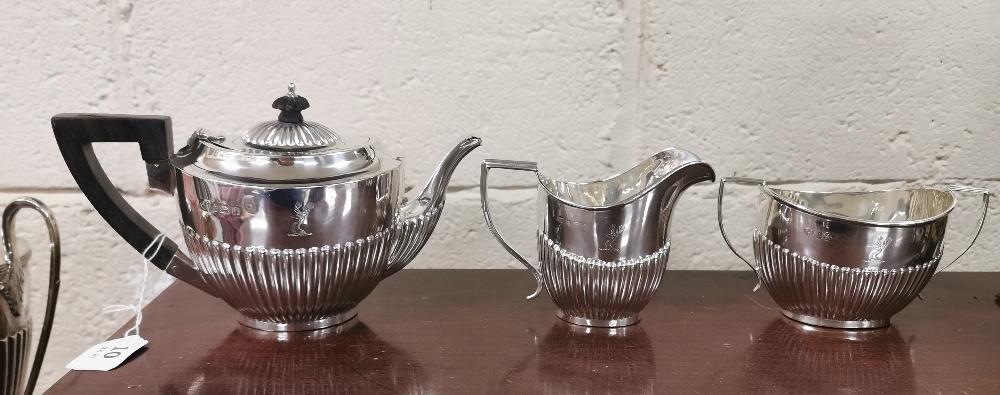 Three Piece Birmingham Silver Tea Set, hallmarked 1904, consisting of a Teapot (13cmW x 23cmH), a